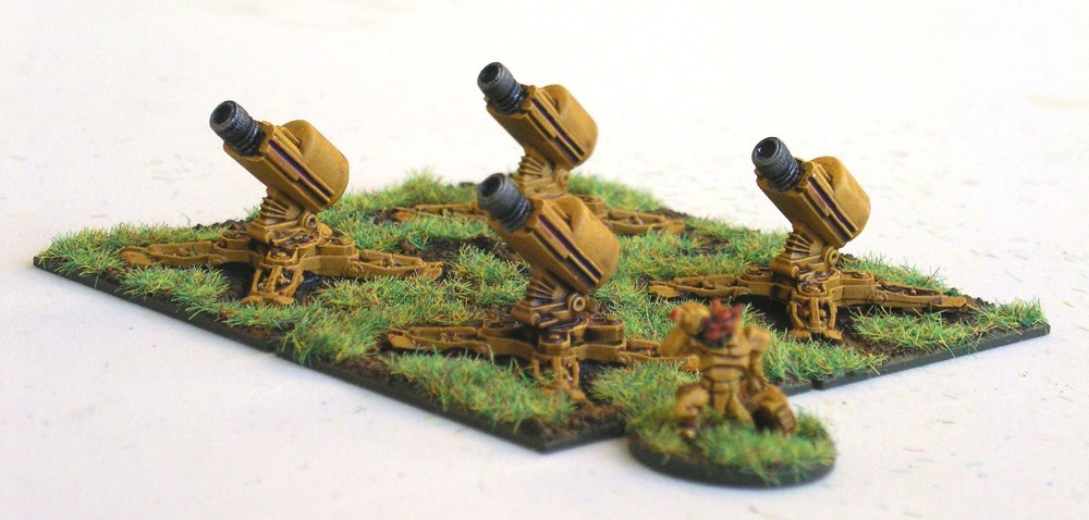 Mako Heavy Field Mortars with Felid crew on Mako Cruciform Stands