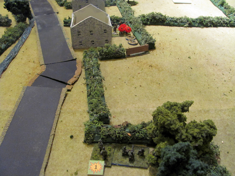 The German forward MG post opens fire on British troops trying to move through the gaps in the boccage