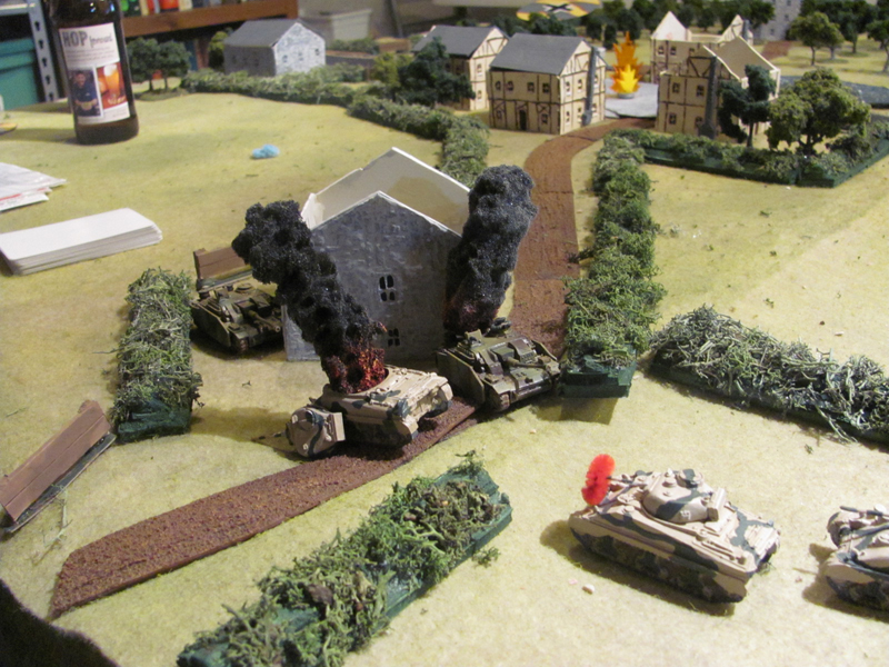 STuGs vs Shermans: Allied and German armour duel around the farmhouse on the east side of the battlefield