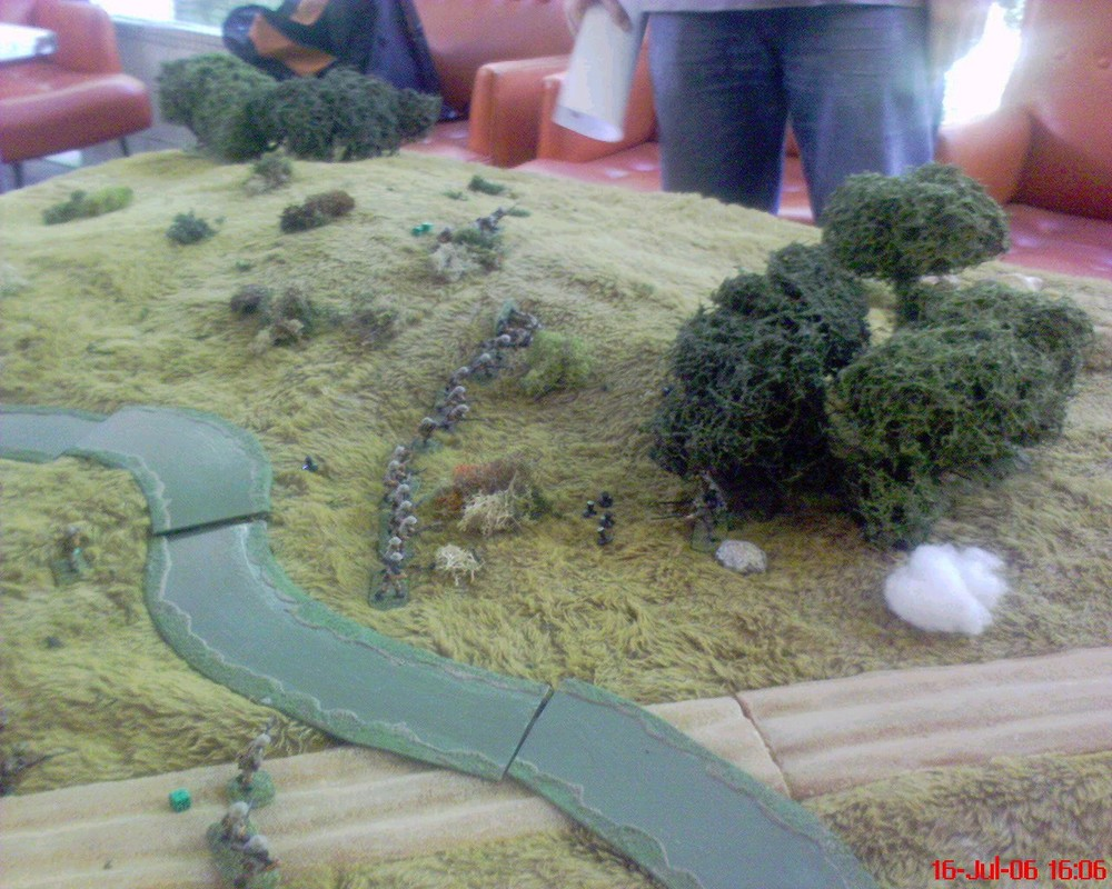 The last moments of the Japanese 1st Platoon, as two full sections of the 9th platoon stand off and shoot them to death: the Aussies seemed incredibly reluctant to allow the Japanese within charge range! Notice how the 8th platoon lead squad is still where it was last seen in #01 - this after some hours of game play have elapsed.