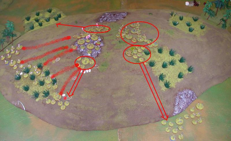 Banzai! Two charges at the Aussies after more firefights. The far right Japanese section tries to outflank the Brits.