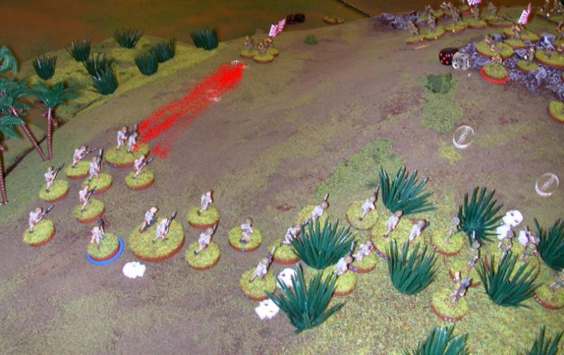 The Brits get payback: withering fire decimates the Japanese flanking section.
