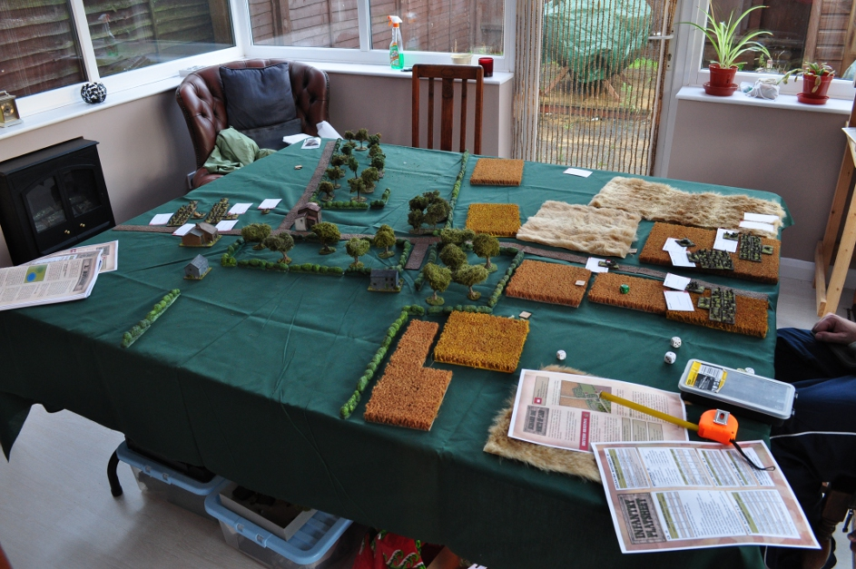 An overview of the table at the start of the game