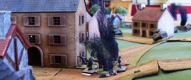 German infantry try to stem the advance of the Shermans