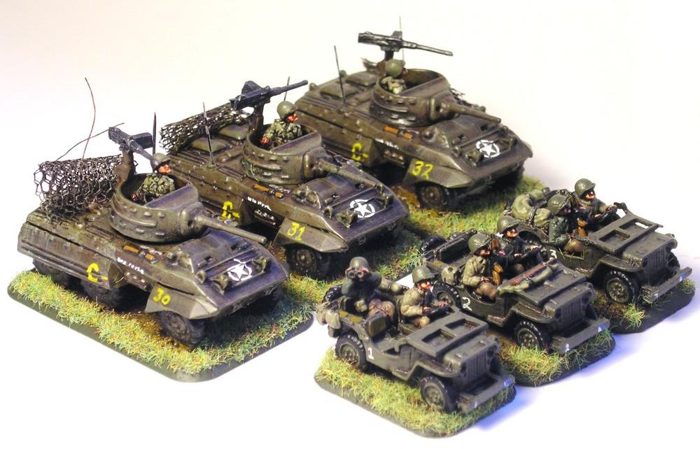 Cavalry Reconnaissance Platoon (3 x M8 Armored Car; 3 x Jeep)