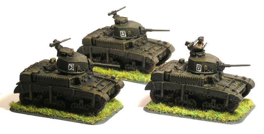 "Light Tank Troop from 7th Hussars in Stuart ""Honey"" Tanks"