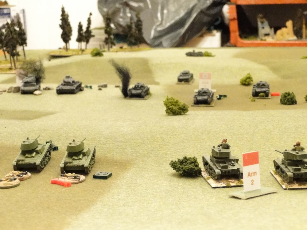 With the Russians in their superior position the armoured duel is going against the Germans.
