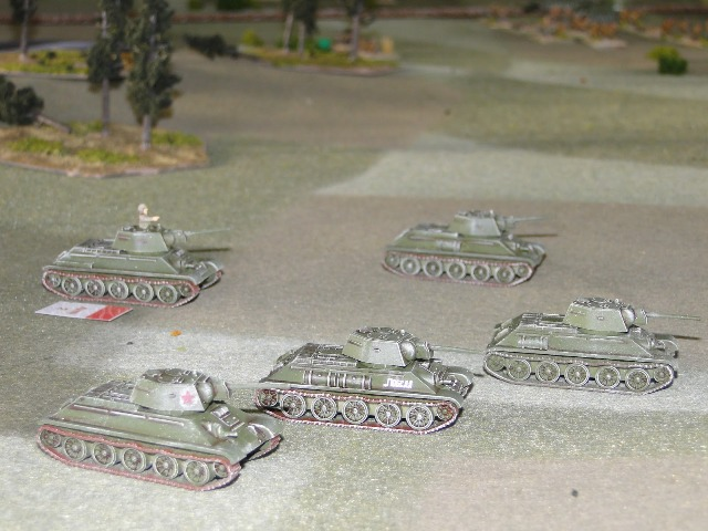 Soviet armour stands off and shells the wooded hill (PSC T34s: great value!)