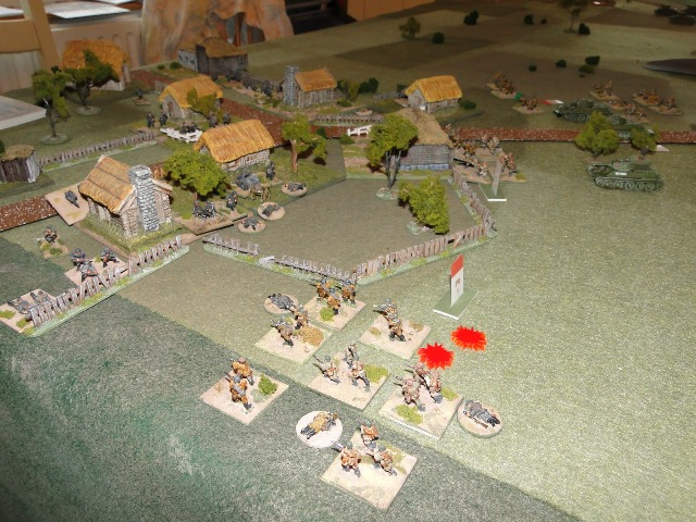 The German section and an HMG open fire, cutting down the Soviet platoon caught short