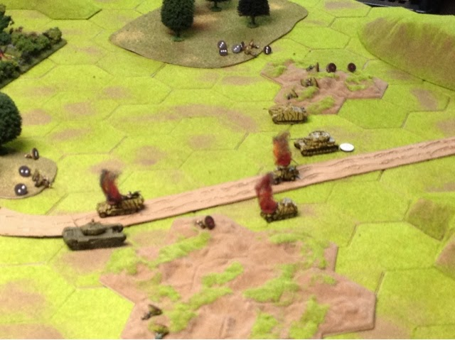 The Panzer IV gets a mobility hit for first blood