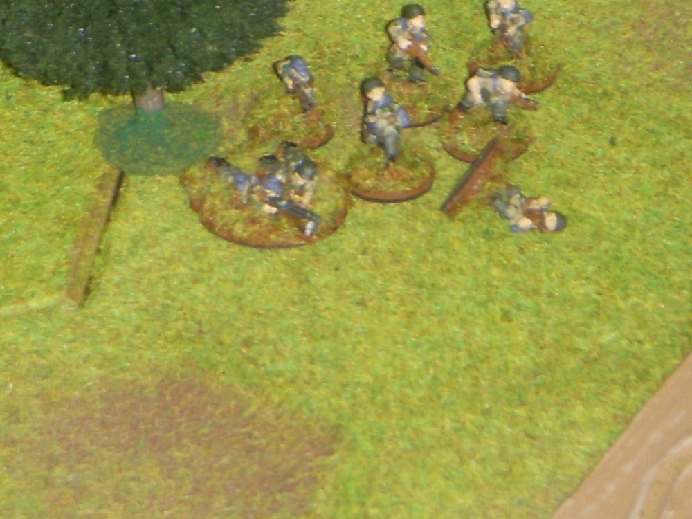 Return fire drops one of the Germans (most of my figures are now singly based).