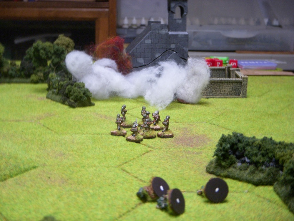 3rd platoon rushes the church under cover of artillery, smoke, and machinegun fire