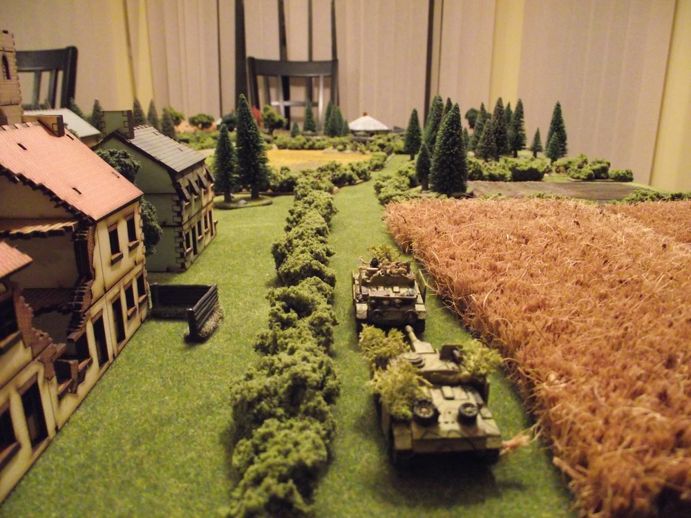 Turn 2:  German reinforcements arrive in the form of two StuGs.