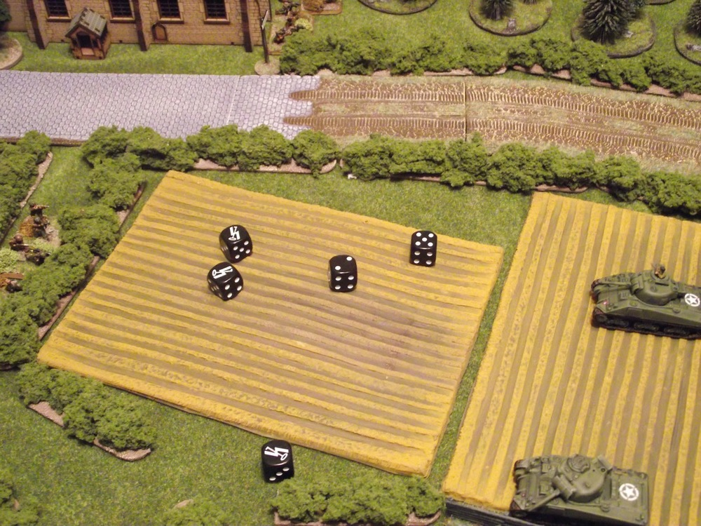 "A SS infantry squad just rips an advancing U.S Para squad a ""new one"".... a score of 25 on 5 dice!"