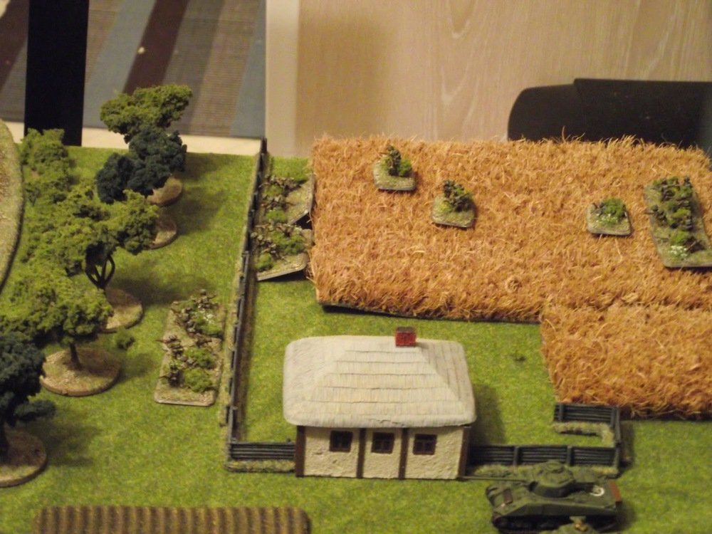 David's 1st platoon had a HARD time moving up through the wheat fields. Constant rolls of 1 or 2 made the first 9 inches of movement take an hour to play!! Yikes!