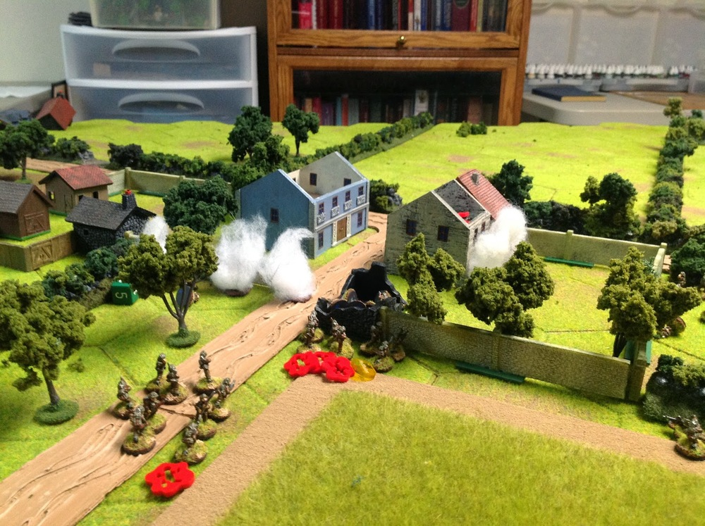 3rd platoon gets stuck in...killing the snipers, overrunning the MG-42 in the house, and pouring fire into the last house