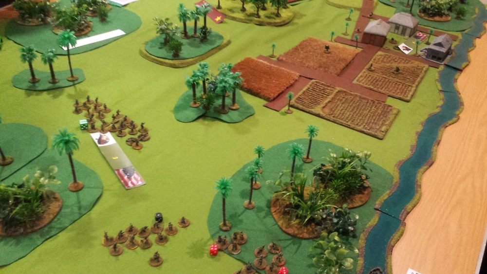 The US forces to the left of the table, where they spent most of the game under heavy MG fire from the troops hidden in the jungle at the top edge.