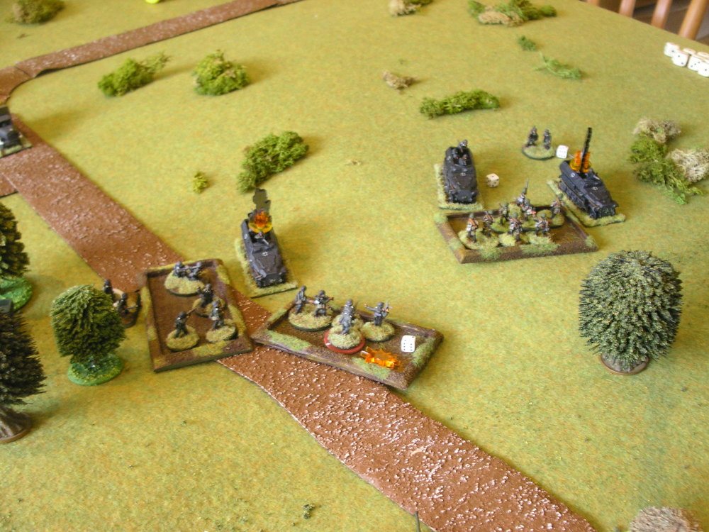 the soviets are about to charge down the hill: things look bad for the battered germans...