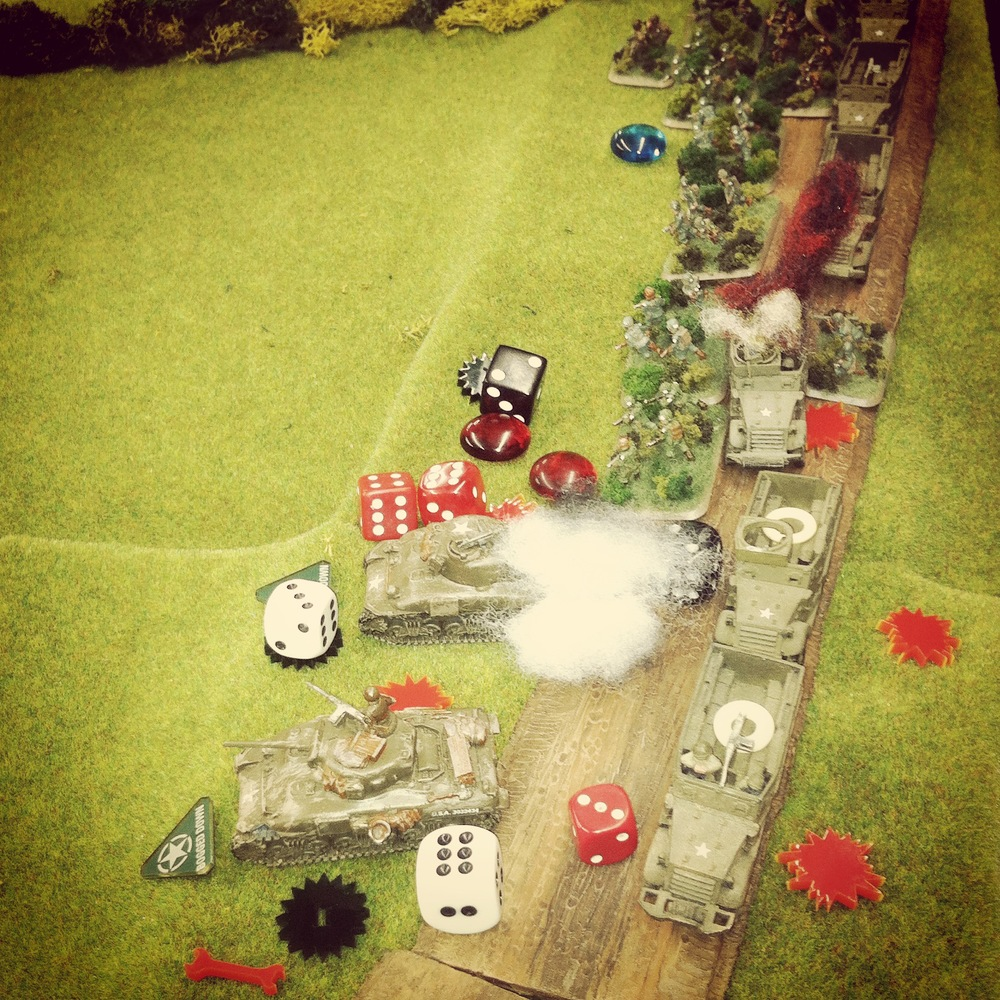 German 105mm artillery rains in from off the table wreaking havoc on the US column