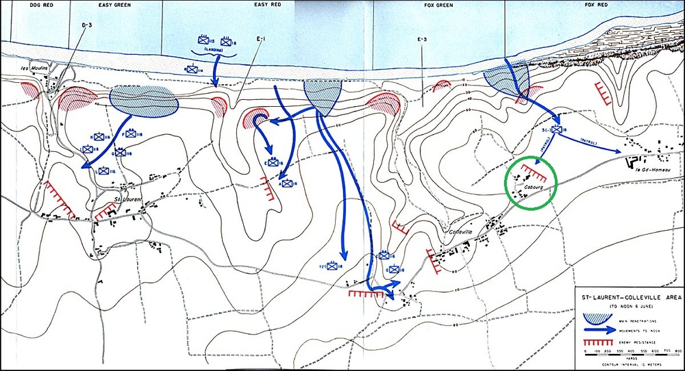 Map of the US push to Cabourg from Omaha Beach, June 6, 1944 (via US Army Center of Military History)