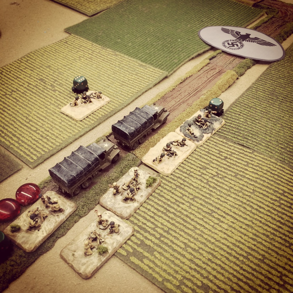 Italians rush to the battle and deploy from a column of trucks