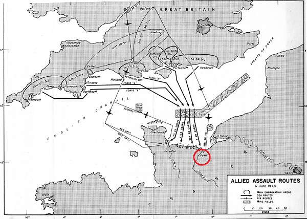 The D-Day Allied assault routes with the British 6th Airborne Division drop zone (circled in red)
