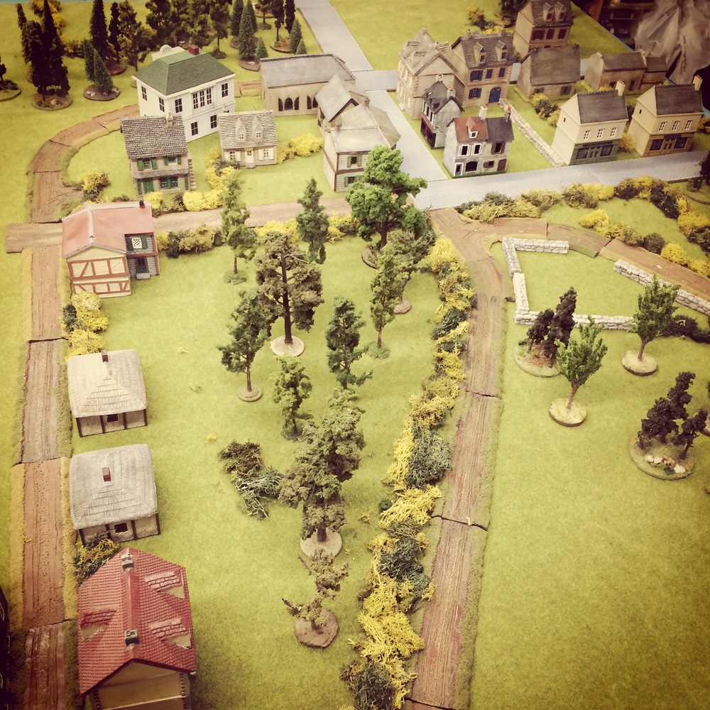 Initial set up of the scene at Bénouville from the British end of the table
