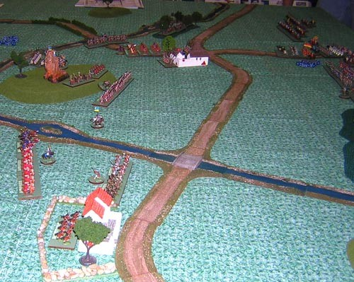 The troops in their positions at the start of the game. The Byzantines are on the left and the Normans are just barely visible on the right