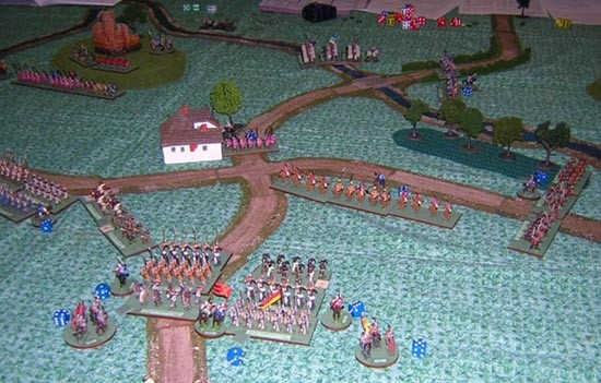 Ed Sansing has deployed his Norman infantry units. Both columns have bowmen in the front and are trading shots with Sean's Steppe light cavalry. On the left the Italian Allied infantry are advancing in support