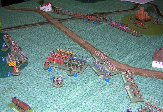 Travis and Bill advance slowly toward the hill. Travis' infantry head toward the town