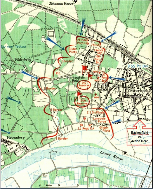 British positions in the Oosterbeek perimeter as they were on Wednesday 20th September 1944 and Lance Sergeant Jack Baskeyfield's position on the day.(Blown railway bridge bottom right of map)
