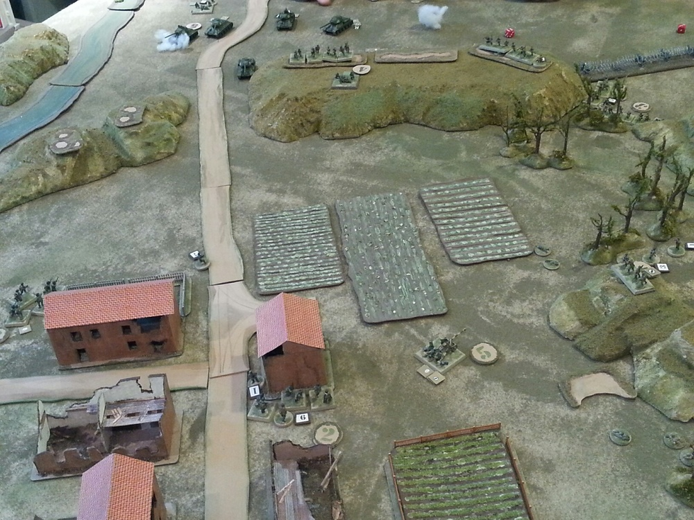 Overview, after Germans cede the gap, right before the tank pushed the gap and the last of the Soviet infantry push on the German right