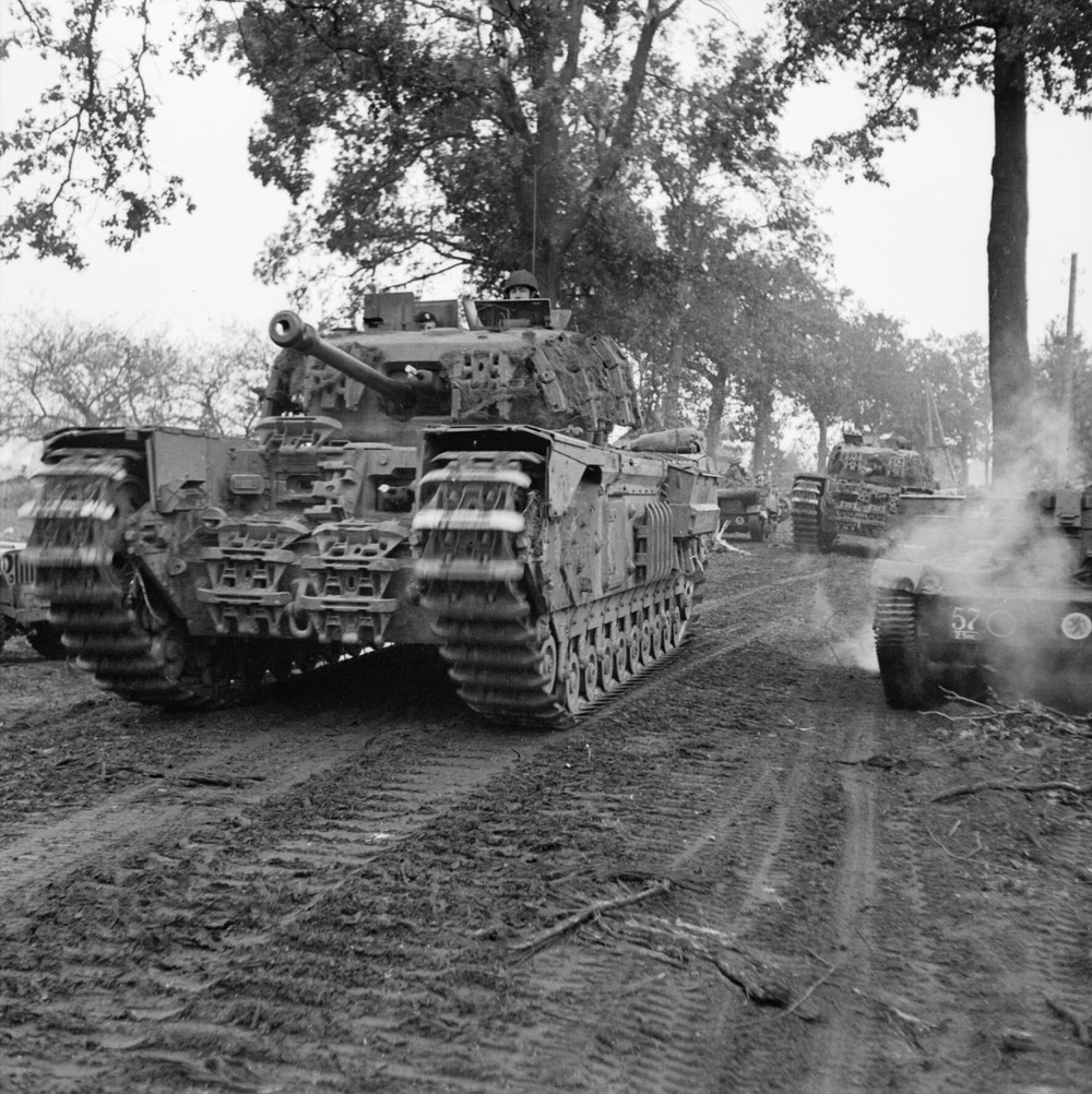 Churchill tanks of the 6th Guards Tank Brigade, pictured during Operation Bluecoat