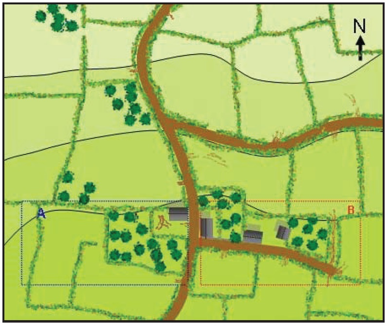 The map for Scenario 12 showing the German set up positions with the British entering the table from the north edge