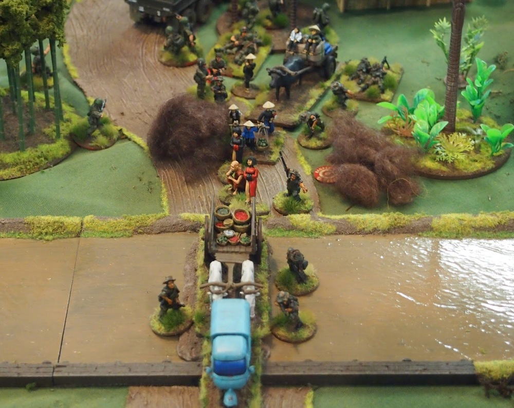 The river crossing coming under mortar fire