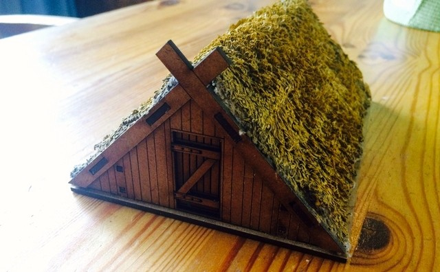 Sarissa Dark Ages house with home-made thatch from the Mad Padre