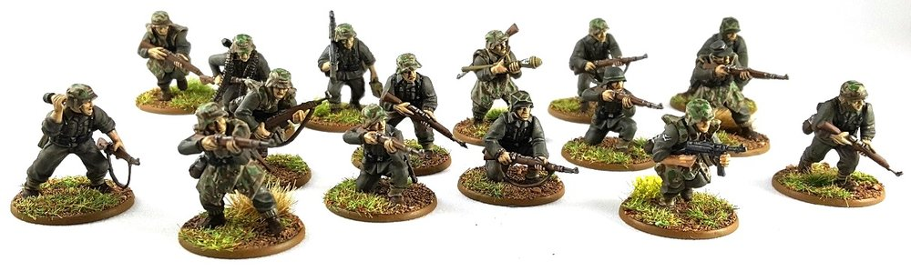 Garrett's squad and a half of Germans in 28mm