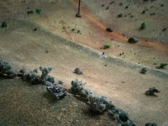 The PzII of the recon platoon took up position over the hill