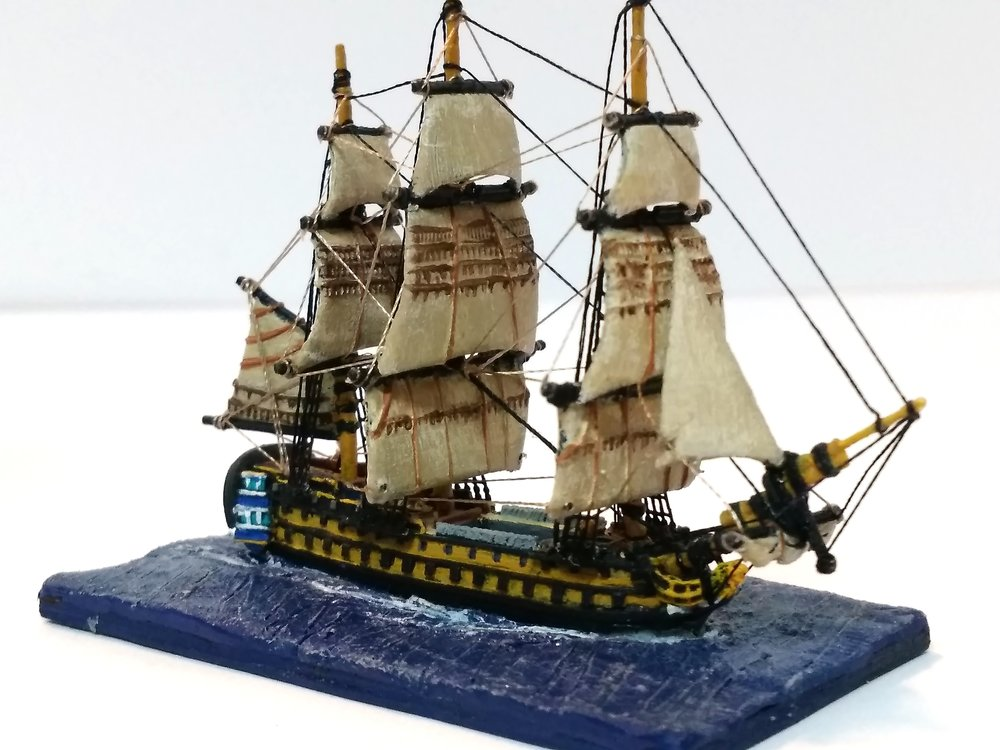 One of Brian's lovely 1/1200 ships:  hand-rigged!