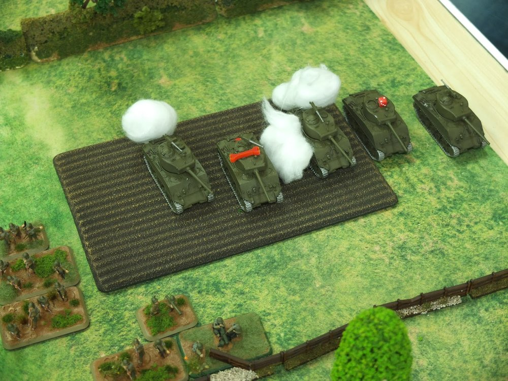 The Shermans take heavy losses from accurate German shooting