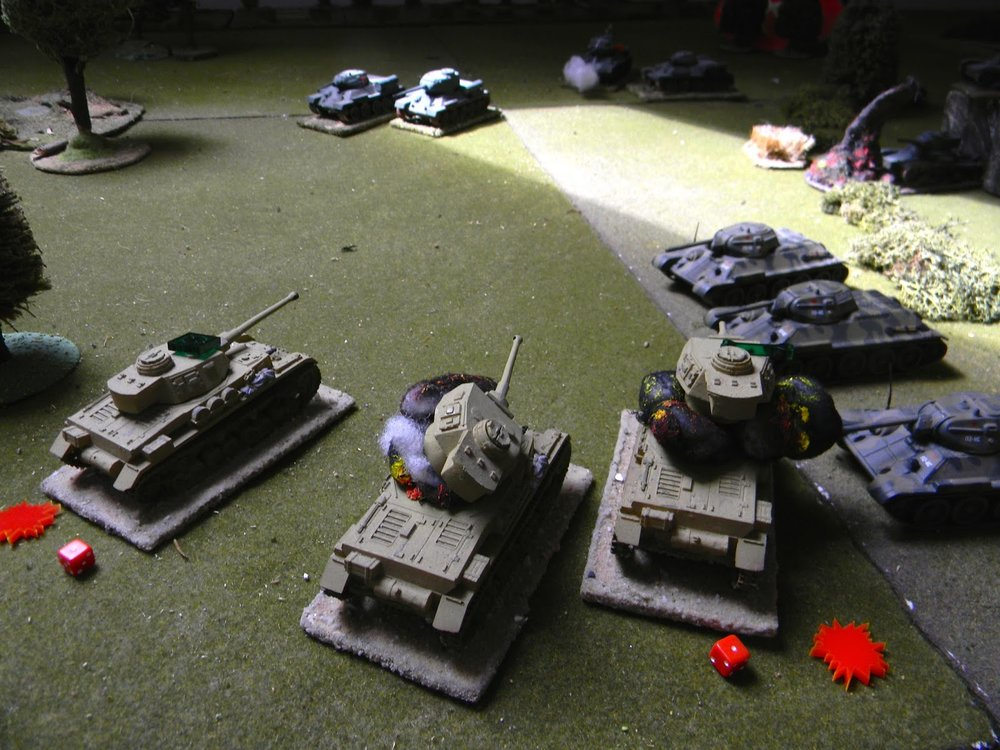 Five T34s are concentrating their attack as one after another PzIVs explode