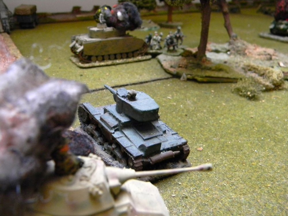 "The Soviets have one armoured car left which fires at the infantry on there bridge. To counter this, Warsteiner sends men out to ""stalk"" the A/C."