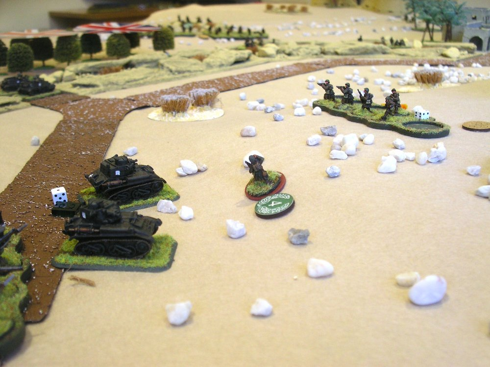 French Heroic Commander card:  Big Man 4 desperately attacks two British light tanks on his own, but to no avail