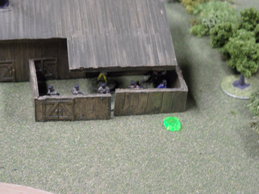 "The sawmill was teeming with angry ""workers"". It quickly came under fire (signified by the green skull marker)."