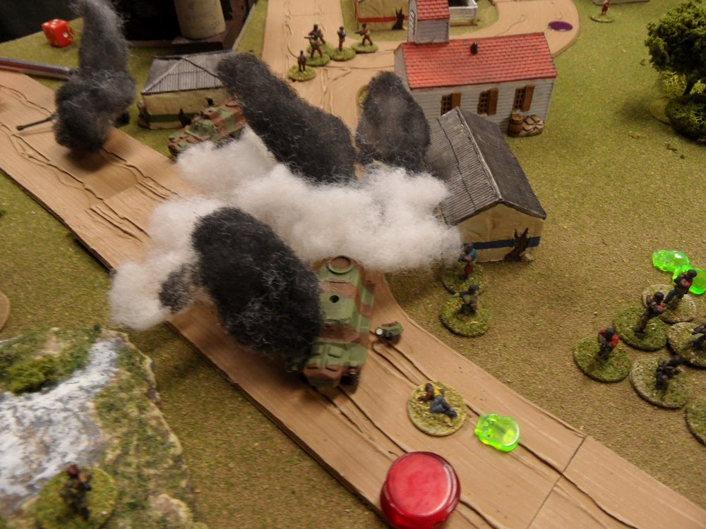 The IMC APCs are destroyed by fire from the tanks and RPGs from the Guards, while the exposed squads are nearly abolished.