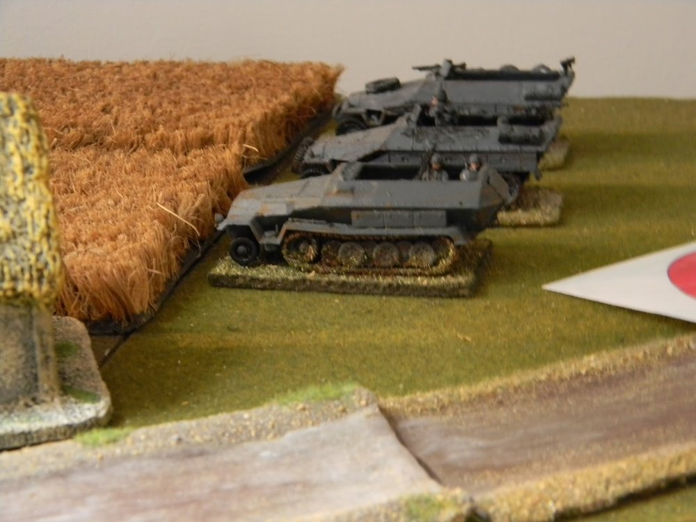 """First unit to be spotted is a Panzer Grenadier """"Zug"""" in half-tracks."""