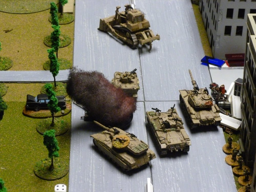 The Magach has moved up to fire on the T-34 with the now mobile Nagmashot in attendance.