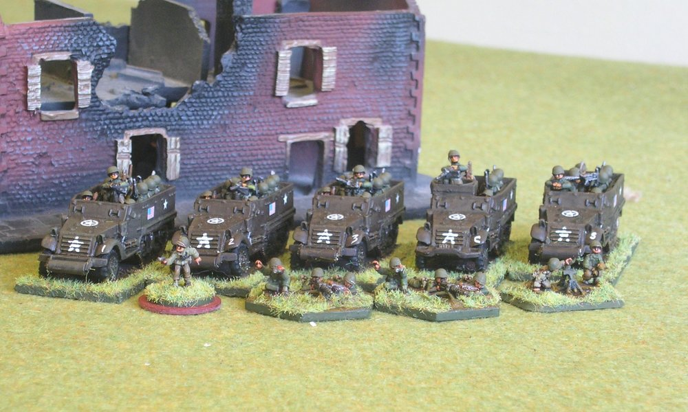 1ST PLATOON:  1 X BIG MAN, 2 X RIFLE SQUAD, 1 X LMG SQUAD, 1 X 60MM MORTAR TEAM, 5 X M3 ½-TRACK, one WITH HMG [missing 1 x 37mm AT Gun]