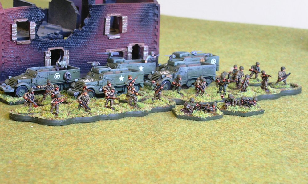 2nd PLATOON:  1 X BIG MAN, 2 X RIFLE SQUAD, 1 X LMG SQUAD, 1 X 60MM MORTAR TEAM, 5 X M3 ½-TRACK, one WITH HMG [missing 1 x 37mm AT Gun]