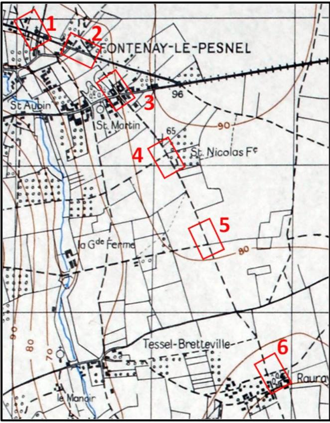 Here is the campaign plan. This game is on map 2, the small village of Fontenay-le-Pesnel. Historically the grenadiers of the thinly stretched 12SS Panzer were attempting to hold the British 49th Infantry Division with Shermans in support.